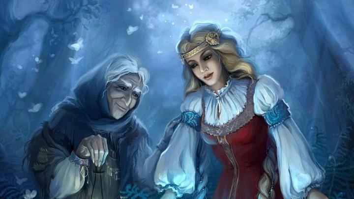 Старая колдунья с внучкой