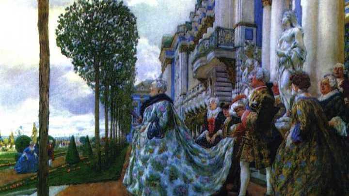 "Картина Лансере ""Императрица Елизавета Петровна в Царском Селе"""