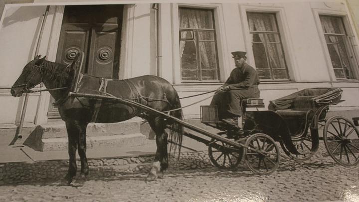 Извозчик в конце 19 века. Старая фотография.