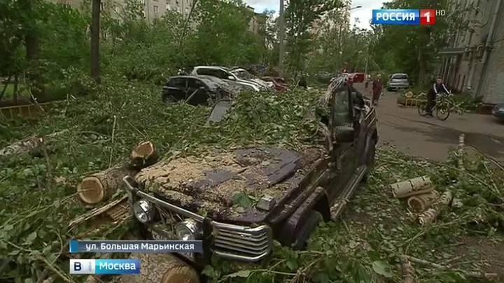Ураган повредил более 120 машин в Москве