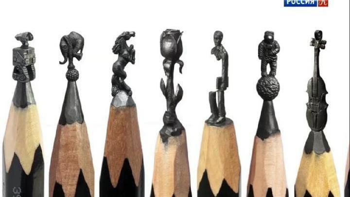 Художник Салават Фидаи создает миниатюры на кончиках карандашей