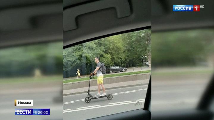 Лихач или сумасшедший: экстремал на самокате установил рекорд скорости на Кутузовском проспекте