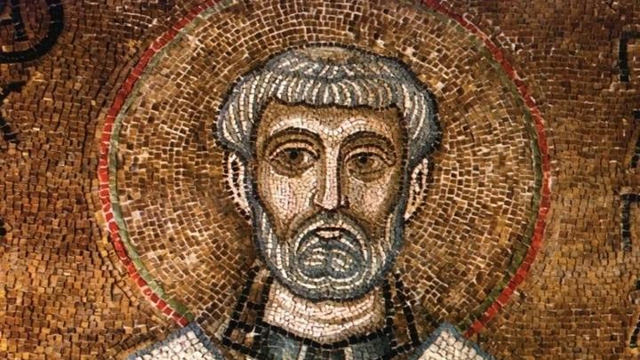 Изображение святого Климента, папы Римского. Мозаика Киевского Собора Святой Софии, XI в.