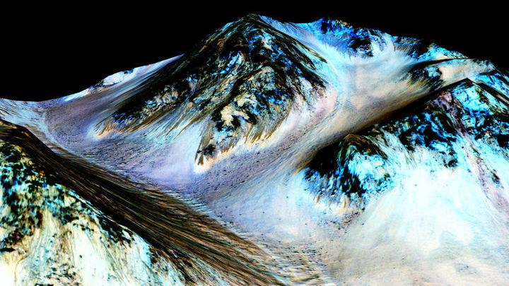 Сезонные полосы на поверхности Марса некоторые исследователи связывают с потоками жидкой воды.