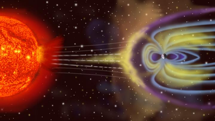 Деформация магнитосферы Земли под действием солнечного ветра.