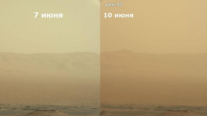"""Фотографии, снятые """"Кьюриосити"""", показывают, как увеличивается количество пыли в воздухе."""