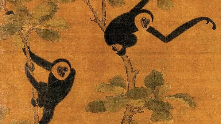 Картина 15 века, изображающая гиббонов. Эти животные были персонажами многих произведений искусства в древнем Китае.