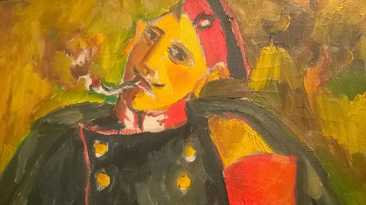 Солдат(курящий). Михаил Ларионов, 1910-1911. Третьяковская галерея, Москва. Фото Леонида Варебруса