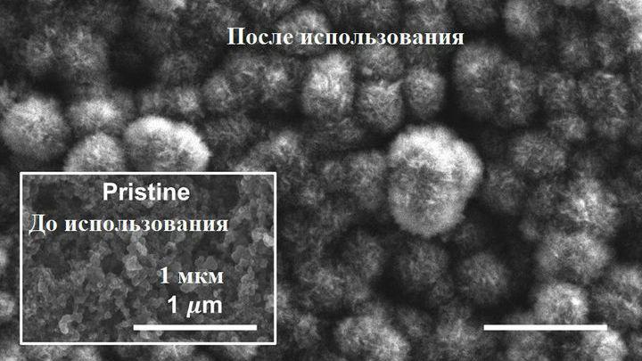 Снимок, полученный с помощью электронного микроскопа, показывает нарастание карбоната лития на  электроде в процессе использования аккумулятора.