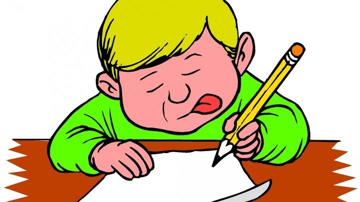 Картинка. Ученик пишет