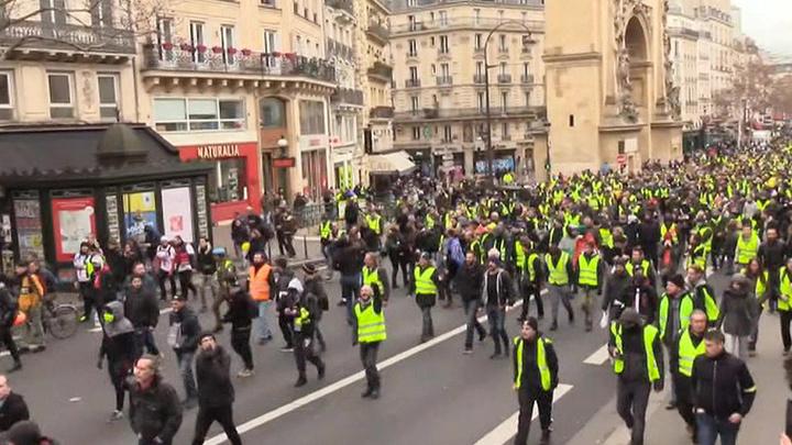 Недалеко от Триумфальной арки против протестующих применили газ