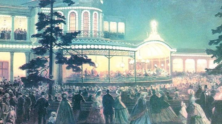 Павловский парк,  здание Музыкального Вокзала,  лето 1856 года, выступление И. Штрауса
