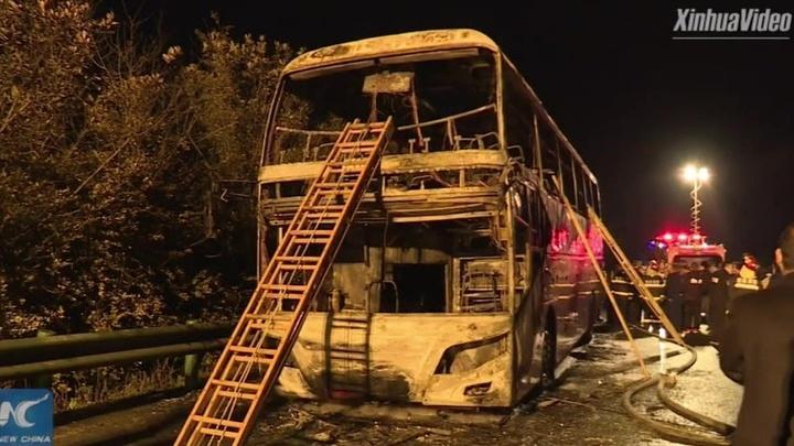 Трагедия в Китае: в загоревшемся автобусе погибли 26 человек