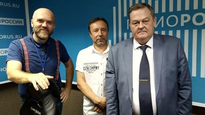 Дмитрий Конаныхин,  Герман Артамонов и Евгений Спицын в студии
