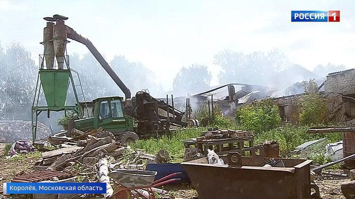 Пожар на пилораме в Королеве: основное здание предприятия полностью сгорело