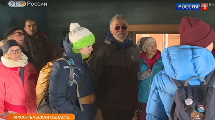 Французские туристы в Архангельской области зимой