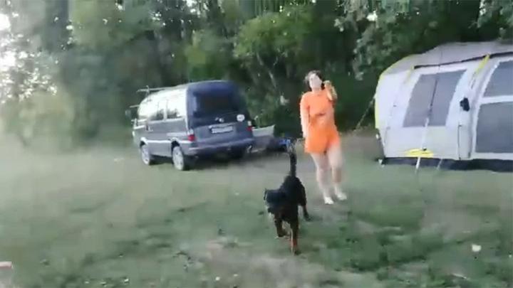 Хозяйка ротвейлера в ответ на замечание натравила собаку и попала на видео