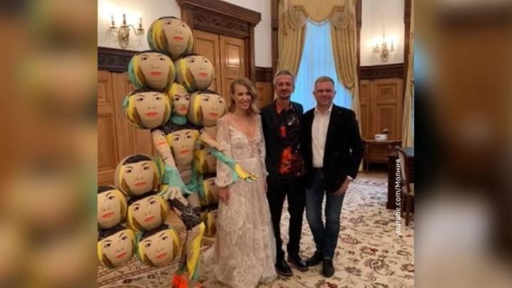 Собчак и Богомолов удивляли и шокировали: свадебный катафалк, подружка в шарах и любовь до гроба