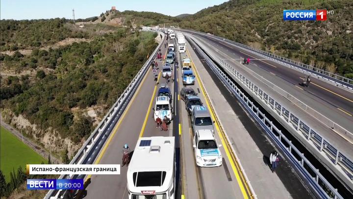 Каталонцы легли на трассу: из Франции в Испанию проезда нет