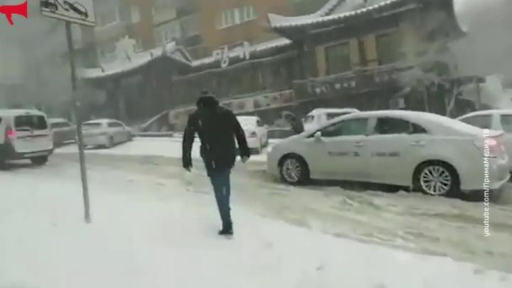 Владивосток замело снегом
