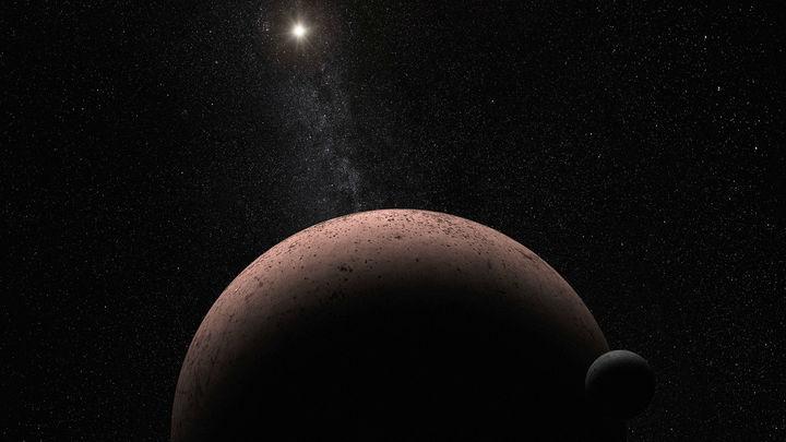 Художественное изображение планеты Макемаке и её спутника