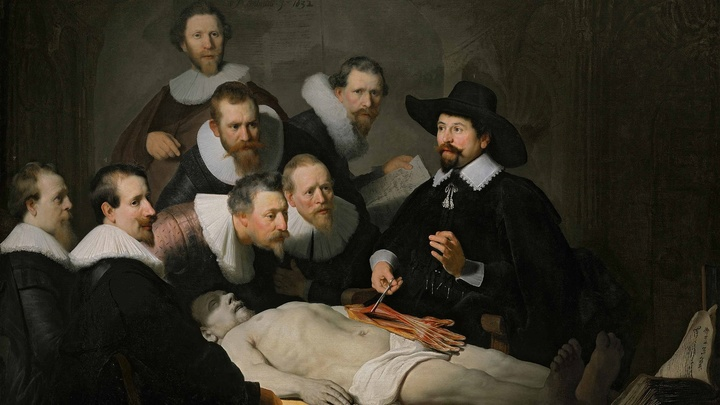 """""""Урок анатомии доктора Тульпа"""", Харменс ван Рейн Рембрандт, 1632 год. Известный голландский врач и мэр Амстердама Николас Тульп демонстрирует аутопсию √ вскрытие трупа."""
