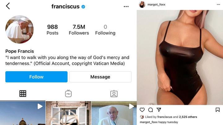Папа Римский лайкнул откровенное фото девушки