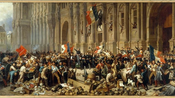 Ламартин отвергает красный флаг перед Ратушей в Париже 25 февраля 1848 года / Henri Félix Emmanuel Philippoteaux / Public domain