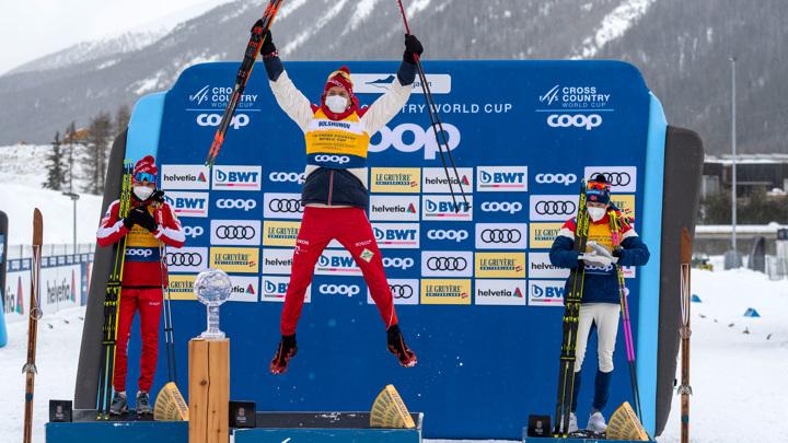 Гимн России в Швейцарии: победы Александра Большунова