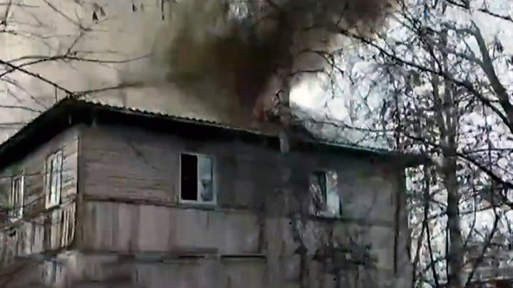 Под Железногорском пожарные спасли из горящего дома двух жильцов и овчарку