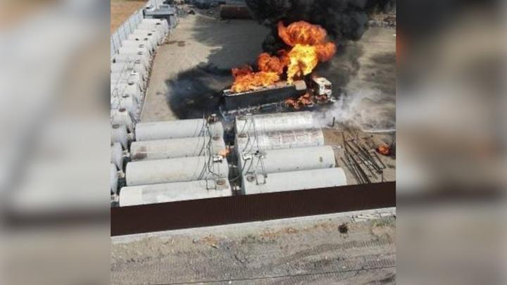 В Приморье загорелась цистерна со сжиженным газом