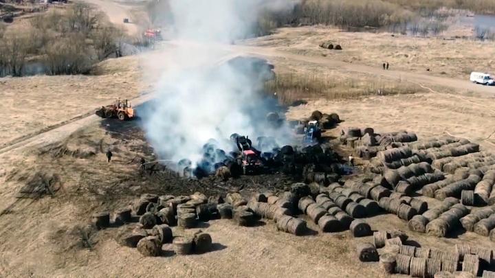 В  Холмогорском районе огонь уничтожил 60 рулонов сена
