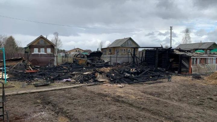 В архангельской деревне сгорел хлев с животными