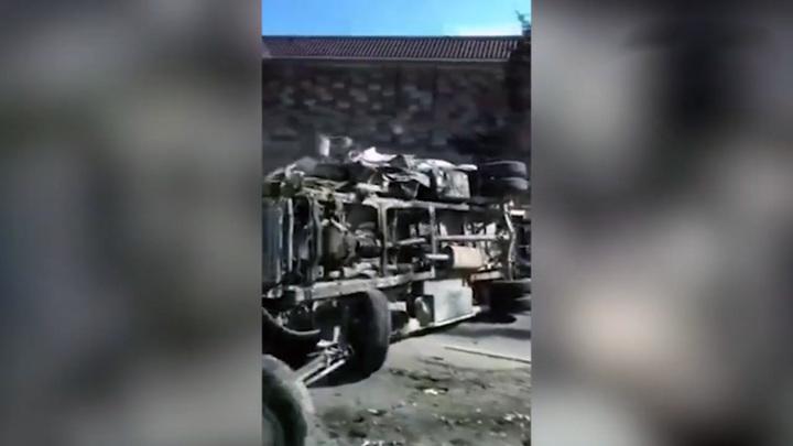 В Крыму скорая помощь перевернулась после столкновения с автомобилем