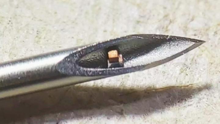 Микрочип легко помещается внутри иглы для подкожных инъекций.