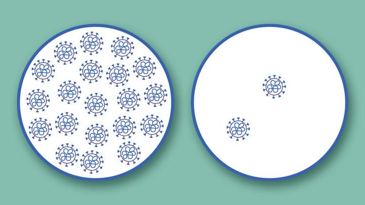 Вирусная нагрузка при COVID-19 оказывается гораздо более низкой у простуженных пациентов (справа).
