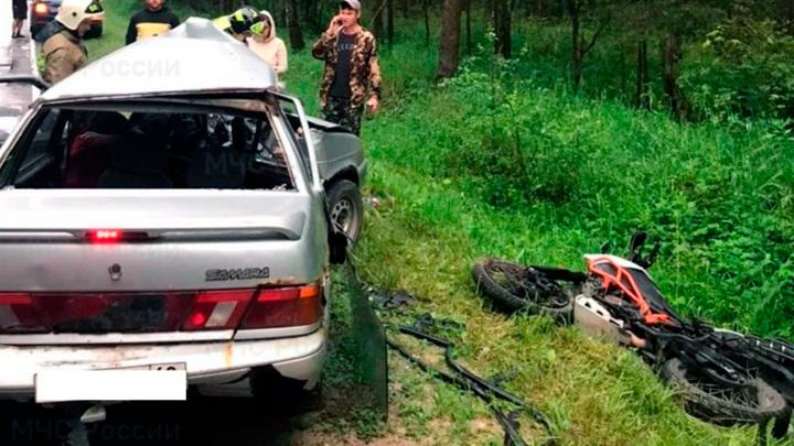 Пострадавший на калужской трассе мотоциклист скончался по дороге в больницу