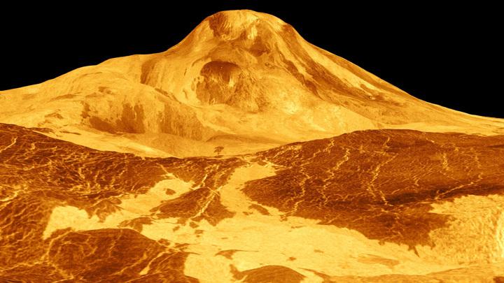 """Трёхмерная модель горы Маат — высочайшего вулкана Венеры, сделанная с помощью космического аппарата """"Магеллан"""" в 1991 году."""