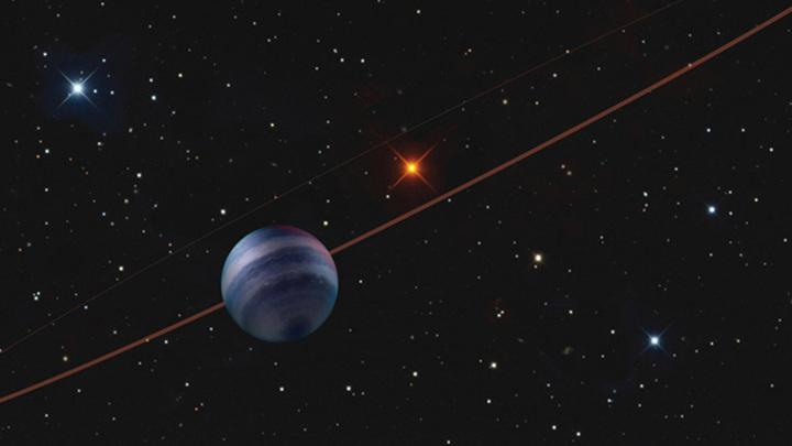 Планетная система COCONUTS-2 с газовым гигантом COCONUTS-2b на переднем плане в представлении художника.