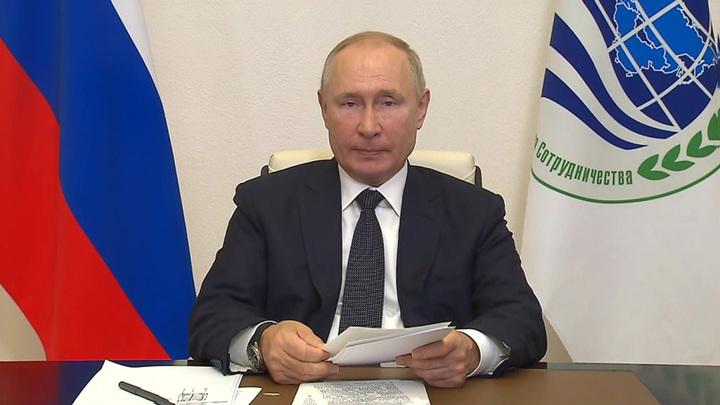 Путин по видеосвязи принимает участие в заседании лидеров ШОС