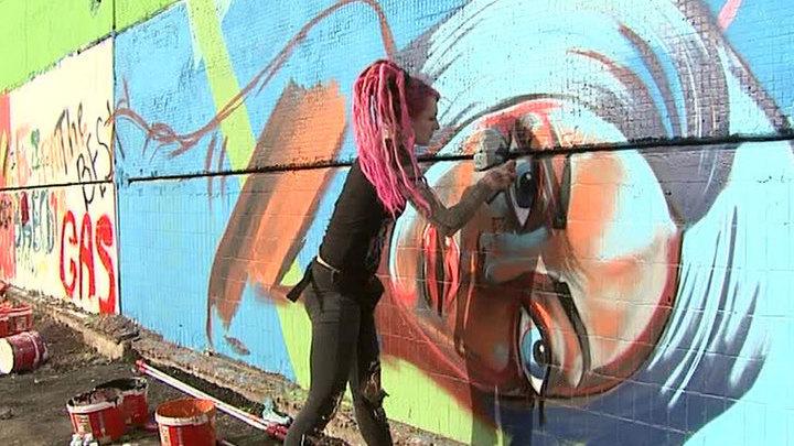 Самую большую стену Москвы разрисовали граффити