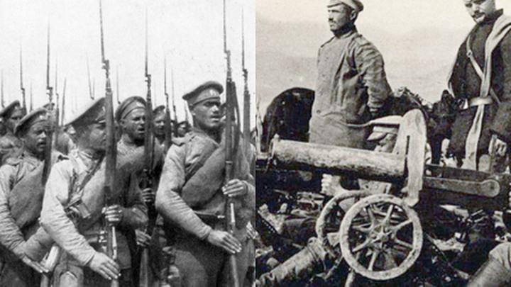"""Винтовка Мосина (""""трёхлинейка"""") и пулемёт """"Максим"""" времён первой мировой войны"""