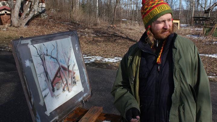 Сергей Пиэтиля, лахтинский художник на пленере.